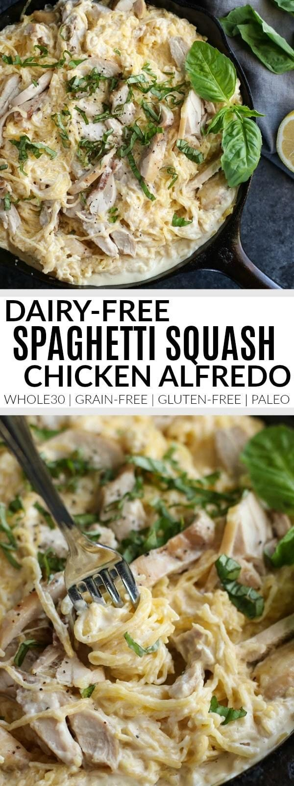 Looking for a healthy comfort food dish for your next gathering or meal prep session? This Dairy-free Spaghetti Squash Chicken Alfredo is just the ticket! Whole30 | Paleo | Dairy-free Serves: 6