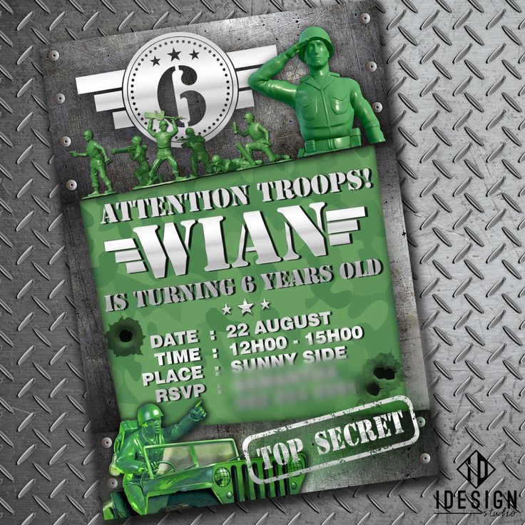 Invitations done for the coolest kid Army theme party!