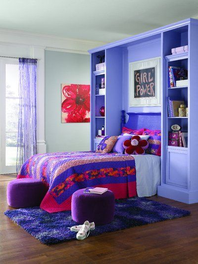 Mix And Match Purples For A Powerful Pop Of Pizzazz. This Lucky Girlu0027s Room  Features A Fully Purple SW 6983 Headboard With Shelving In Indulgent SW