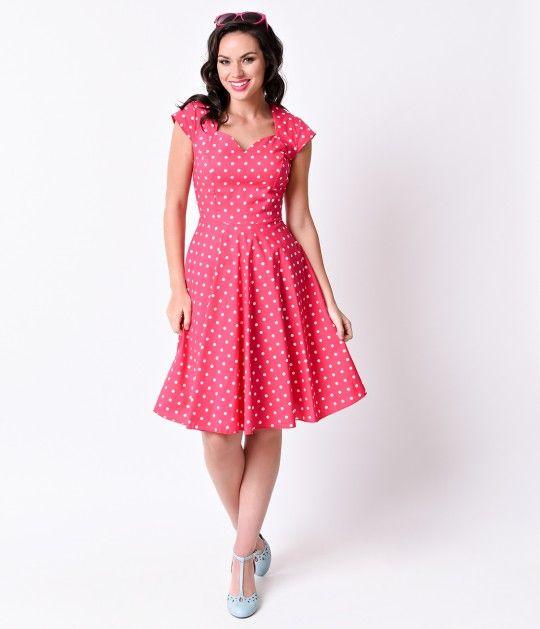1950s Style Hot Pink & White Dot Cap Sleeve Sweetheart Swing Dress
