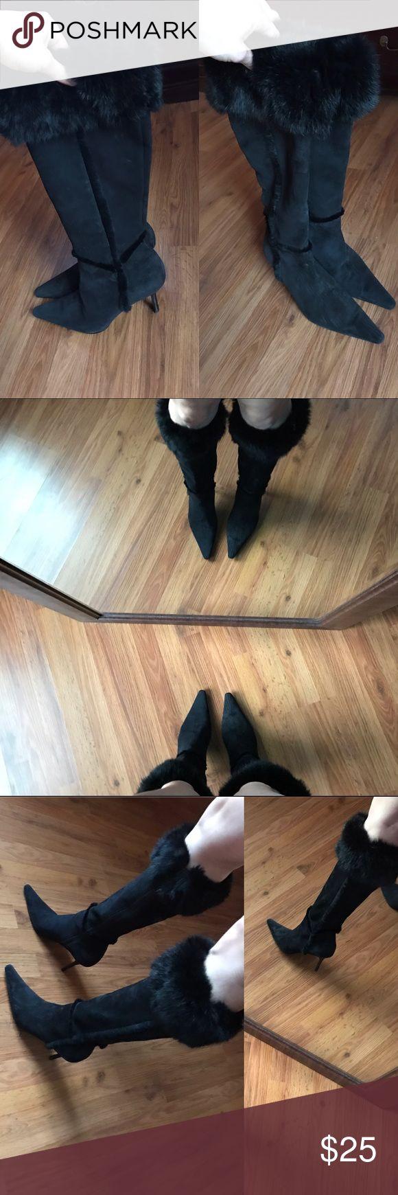 Carlos Santana Boots Black Suede Carlos Santana Boot, never worn. No trades! Carlos Santana Shoes Heeled Boots