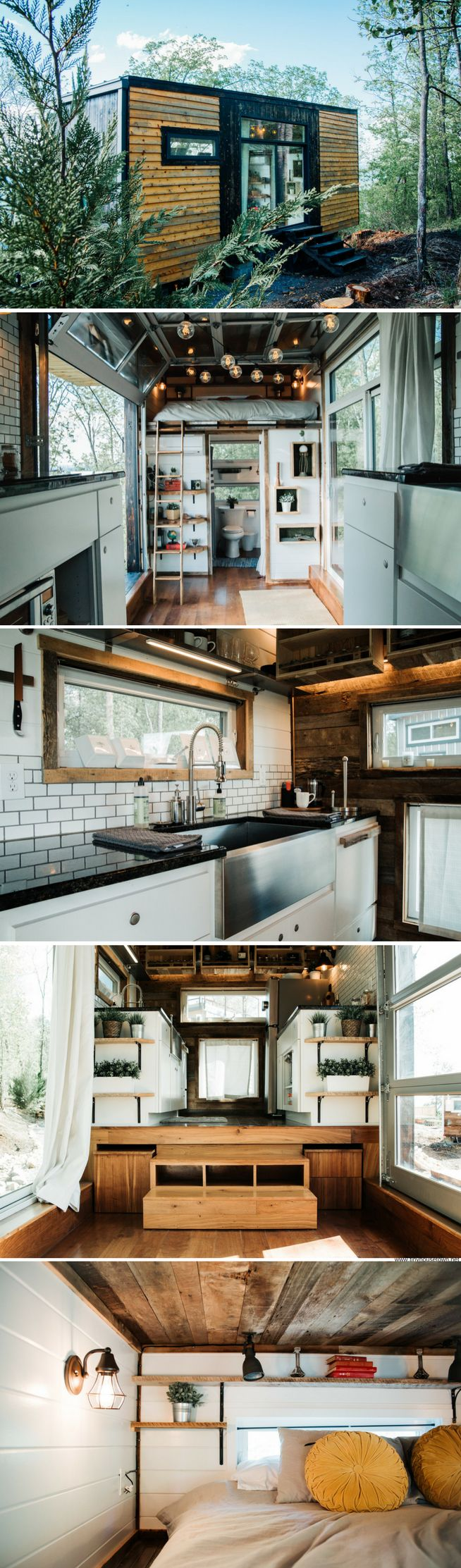 View toward kitchen the alpha tiny home by new frontier tiny homes - The Alpha A Beautiful Modern And Rustic Tiny House Available For Rent At Live A Little Chat Via Airbnb Designed And Built By New Frontier Tiny Homes