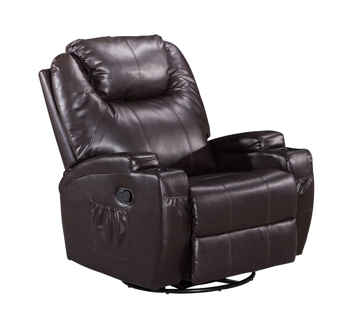Frivity Massage Rocker Recliner, Classic and Traditional Heating Vibrating Bonded Leather 360 Degree Swivel Recliner Chair, 1 Seat Motion Sofa Recliner Chair with Overstuffed Arms and Back, Brown