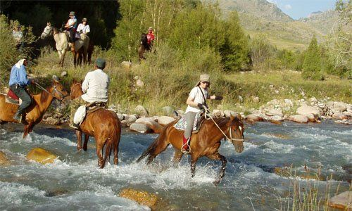 Horse trek in  flower meadows of Aksu-Dzhabagly nature reserve in April/May