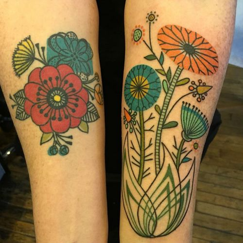 Prettiest retro-style floral tattoos by Jennifer Trok.
