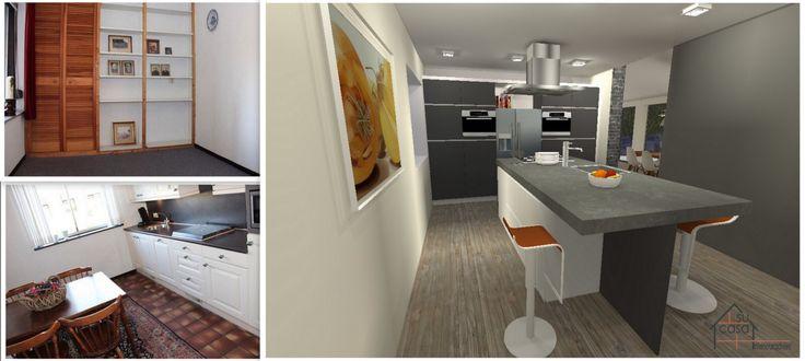 Virtuele restyling na samenvoegen werkkamer en keuken
