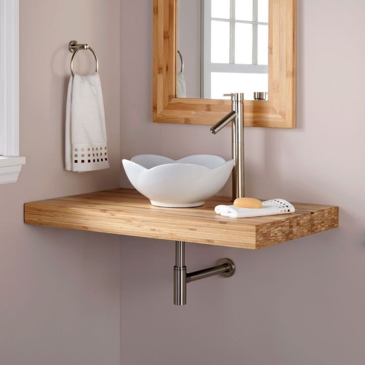 Web Image Gallery  Bamboo Wall Mount Vanity Top for Vessel Sink Bathroom Vanities Bathroom