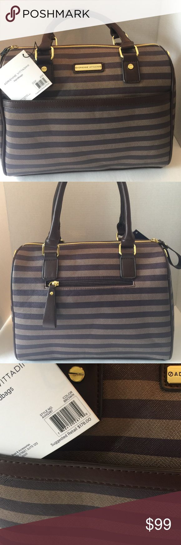 Adrienne Vittadini handbag Beautiful brown stripe handbag Adrienne Vittadini Bags Satchels