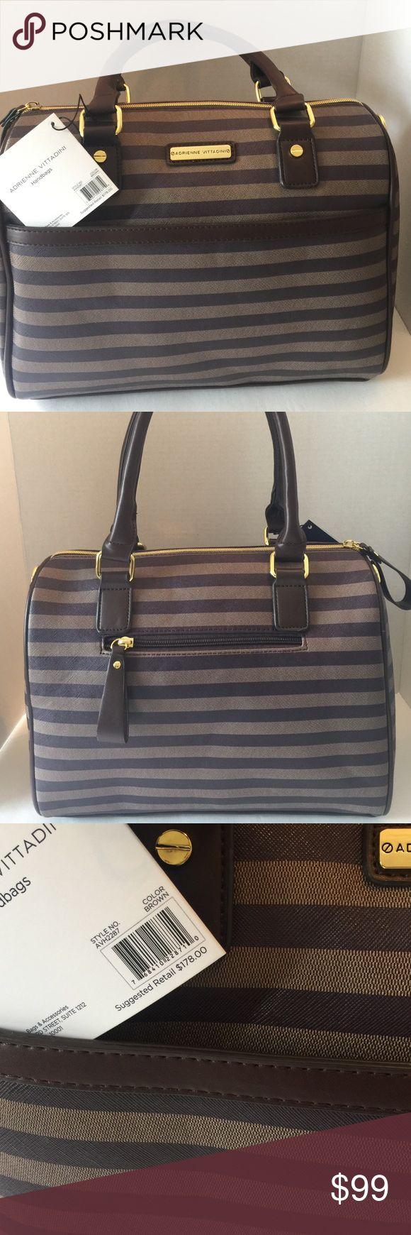 Adrienne Vittadini handbag Beautiful brown stripe handbag Adrienne Vittadini Bags Satchels