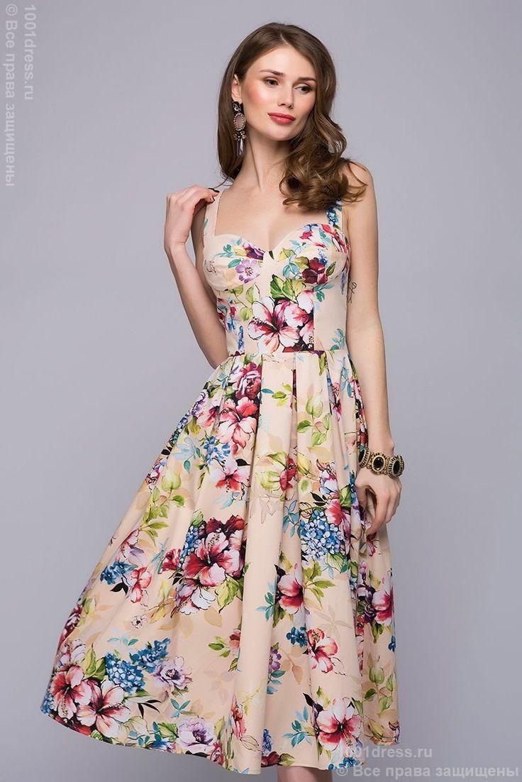 Платье бежевое длины миди с цветочным принтом в интернет-магазине 1001DRESS