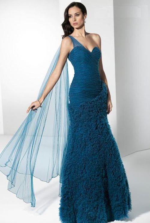 Vestidos de noche en azul petroleo