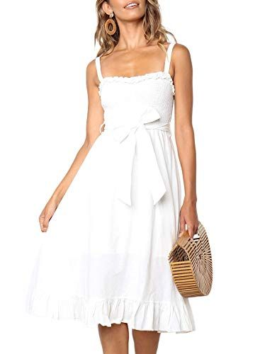 5cf58df4e6c0 Perfect beach or casual wedding dress. ZESICA Women s Bohemian Spaghetti  Strap ...