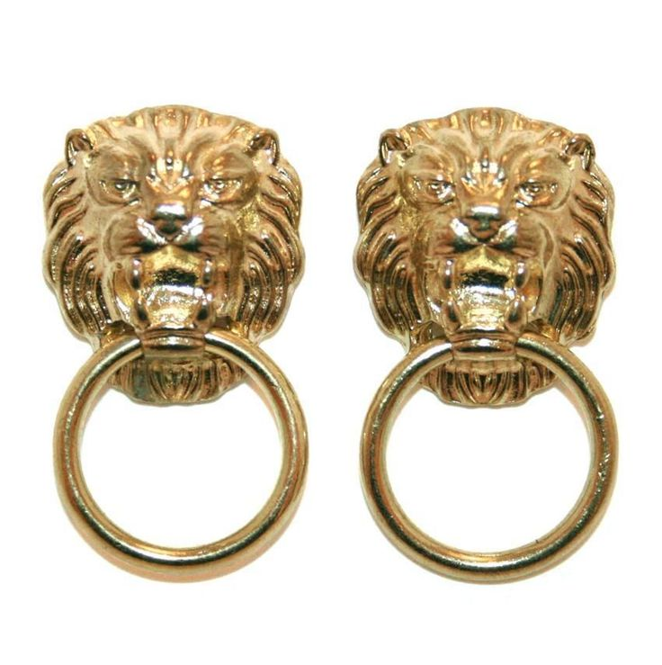 GOLD LION DOOR KNOCKER EARRINGS VINTAGE 80s STYLE CELEBRITY LEO KITSCH GIFT  Classic lion with beautiful mane holds a ring in mouth like an antique door knocker. From Lavish Accessories on Ebay. #gold #earrings #kitsch #quirky #lavish #accessories #rockabilly #fashion #retro #fabulous