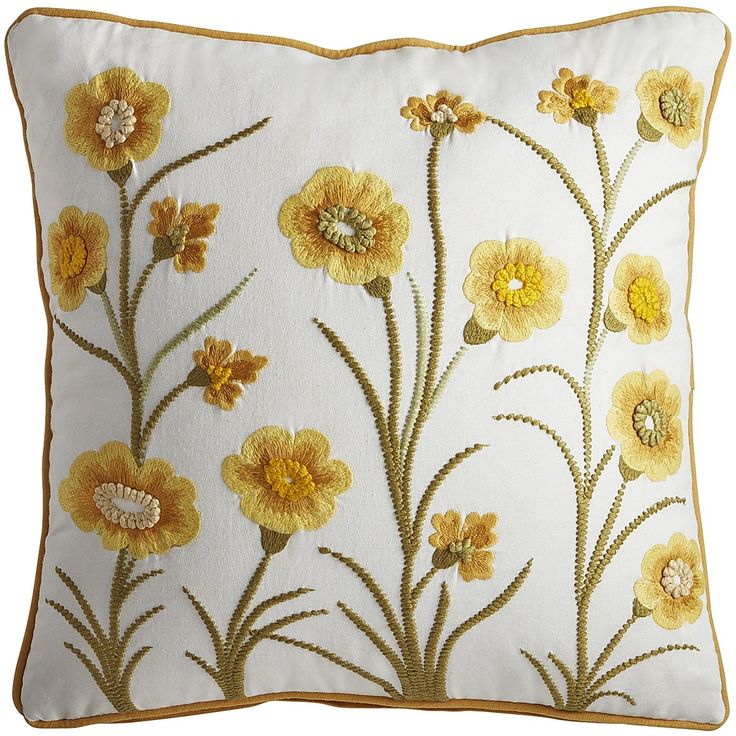 Spring Meadow Embellished Daffodils Pillow Yellow