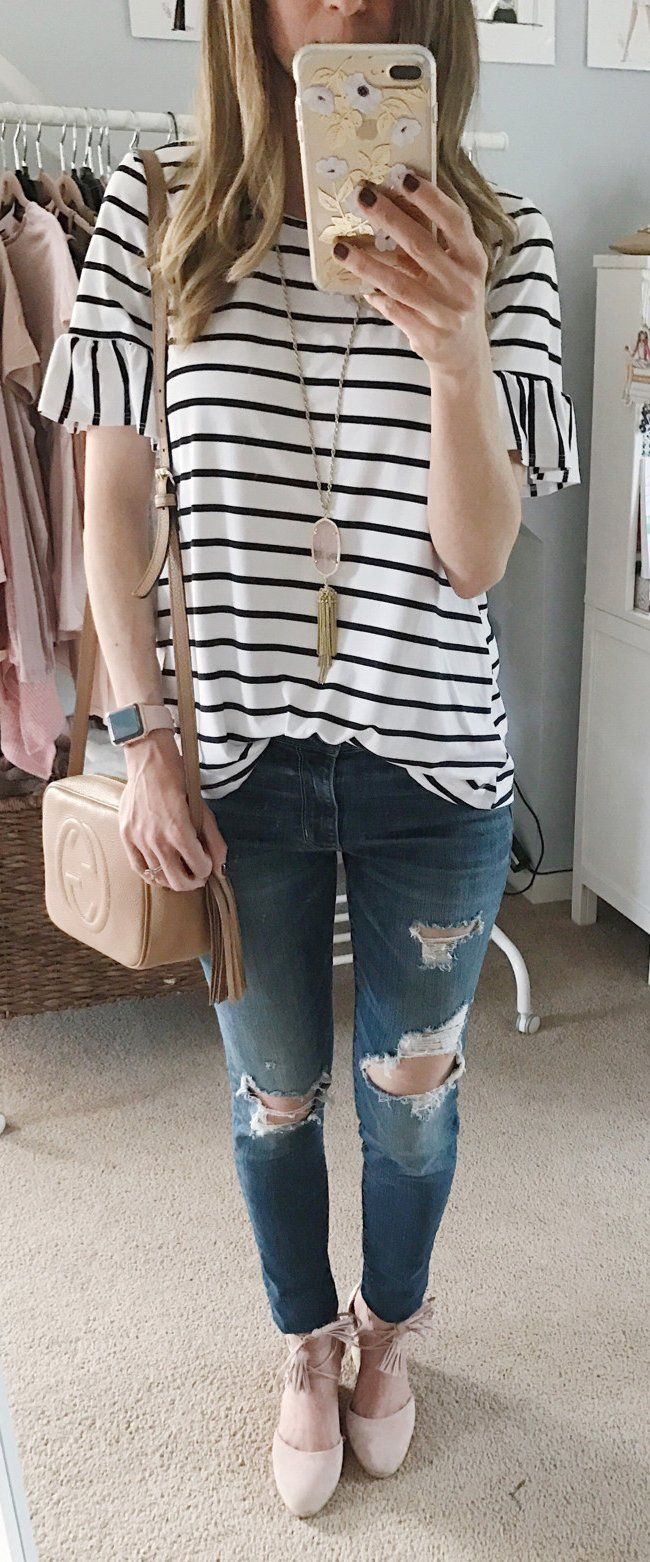 #spring #outfits I Am SO Picky With My Stripes... But This Little Top Came Today And I Am Smitten. It's Under $50 And I Can't Get Enough Of The Sleeves. Add These $89 Pink Espadrilles And I Am One Happy Lady.
