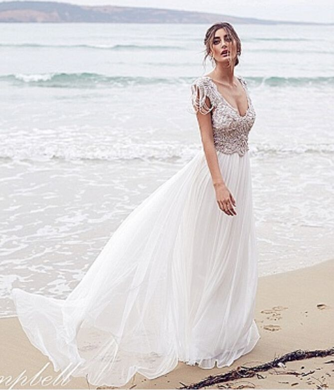>> Click to Buy << Summer Style Beach wedding dress Plunging V-neck Open Back A-line Lace Beading Vestido de Novia 2016 #Affiliate
