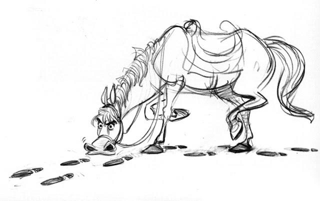 Konzeptskizze von Maximus dem Pferd von Tangled by Glen Keane