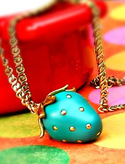 """""""cute polymer clay strawberry necklace"""" That would be so great if it was RED...you know, like a STRAWBERRY!"""