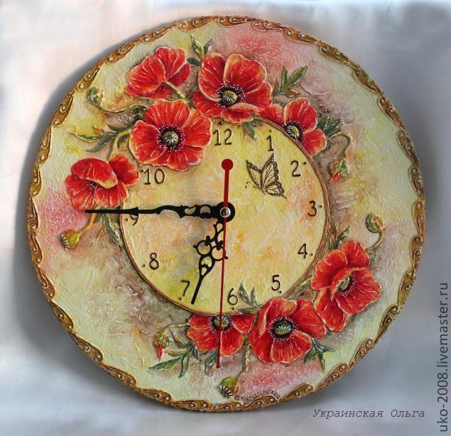 """МК по объемной росписи. Часы """"Маков цвет"""" - Ярмарка Мастеров - ручная работа, handmade"""