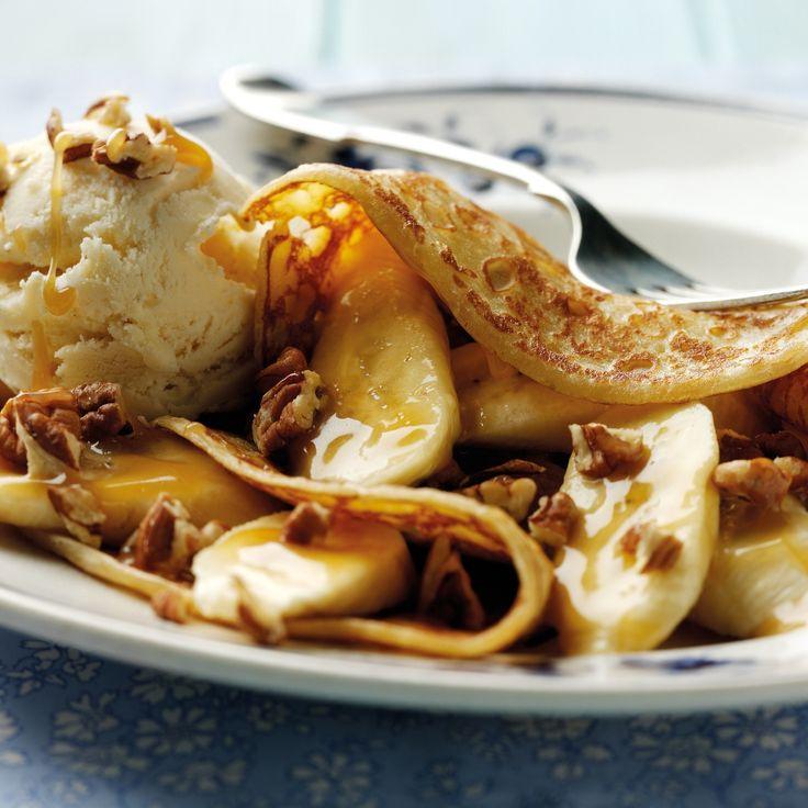 Banana And Vanilla Ice Cream Pancakes Recipe | BakingMad.com
