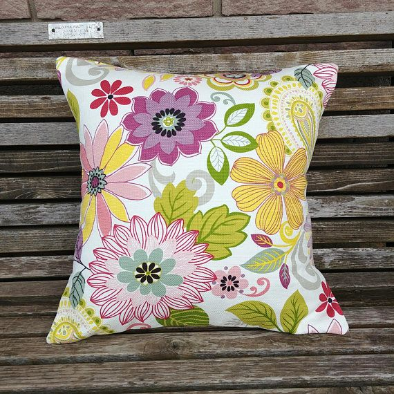 Lime and Purple Pillow Cover Floral Summer Pillow Cover
