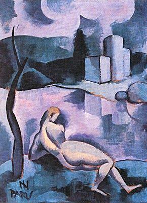 Nu Feminino e Paisagem ca. 1928 - Ismael Nery Coleção Roberto Marinho (Rio de Janeiro, RJ)  http://sergiozeiger.tumblr.com/post/99567187118/ismael-nery-belem-do-para-9-de-outubro-de-1900