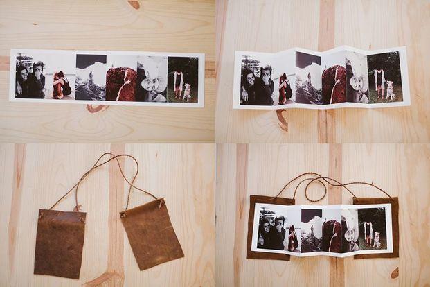 数枚の写真を一枚の用紙に長くプリントアウトしたものを折りたたみ、皮の表紙&裏表紙をつけて。シンプルでクールなフォトブック。