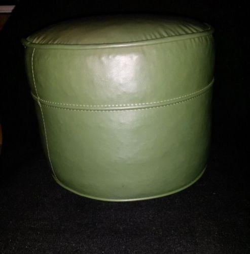 Foot-Stool-Vtg-Mid-Century-Modern-60s-Round-Green-Leather-Vinyl-Ottoman-Nice
