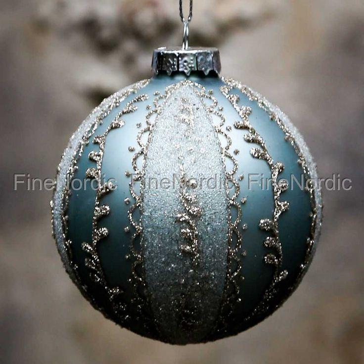 Julekule med Glimmer Antikk Verte, fra Chic Antique.