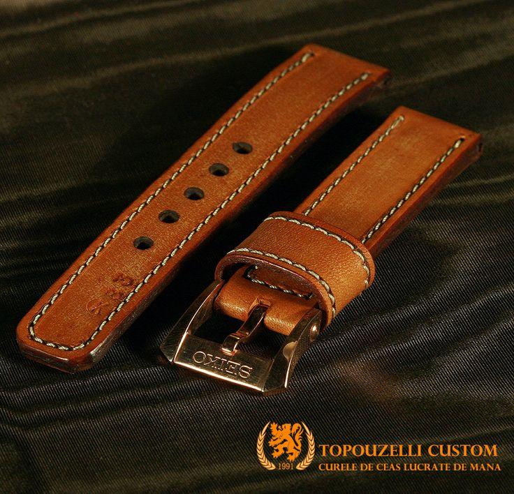 """Topouzelli custom 278 - Curele de ceas din piele lucrate de mana la comanda. jeanraval@gmail.com 0727167802 0771296409 http://topouzelli.blogspot.ro Curea de ceas 120/75/22 mm. Model """"K83"""". 1 brida rezerva, cert. autenticitate.  Unicat. 80 lei"""