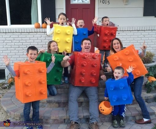 Whitney: My husband and Me and our 6 children are wearing these Lego costumes that we made together out of cardboard boxes, Solo red cups, and spray paint! It was a...