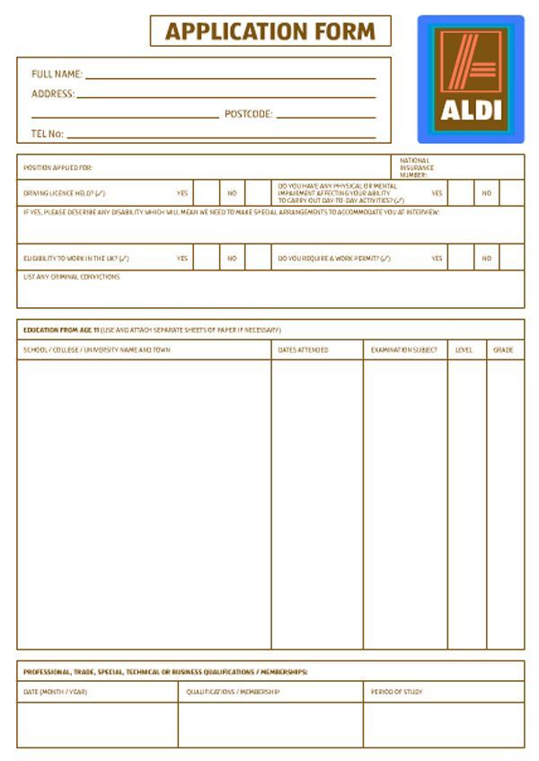 Aldi Application Aldi Application For Employment Pinterest