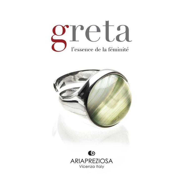 Greta - Anello in Argento 925‰ con pietra AGATA VERDE CHIARO incastonata
