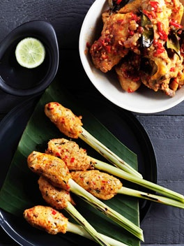 Balinese Seafood Satay (Sate lilit) - recipe adapted from The Food of Bali by Heinz von Holzen. http://www.gourmettraveller.com.au/balinese-seafood-satay-sate-lilit.htm#