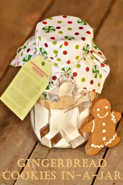 Gingerbread cookie mix in a jar tutorial and recipe.  Cute idea could use a sugar cookie recipe and put a heart cookie cutter on it for a wedding favor.