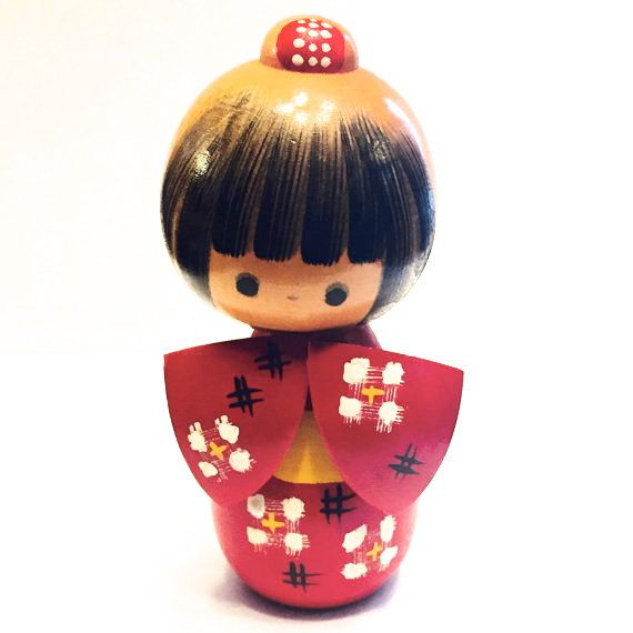 Kokeshi Doll with Red Kimono and Bright Yellow by HippyHappyShop