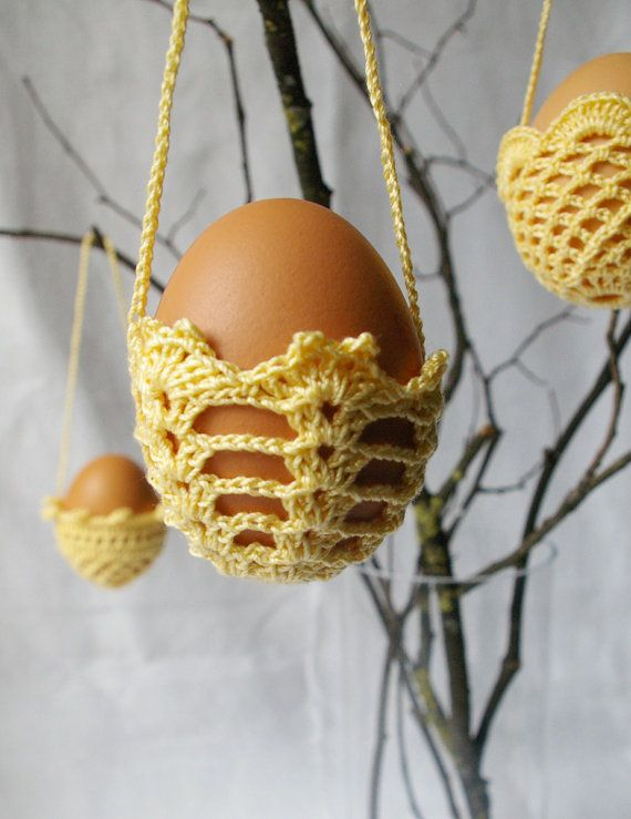 What a unique thing to hang in your home!    SALE / EASTER decoration  3 hanging crochet eggs by MIKALINOS