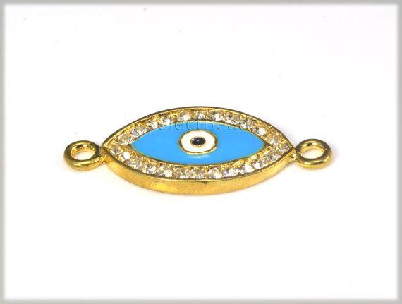 rhinestone jewelry link,eye bead, 15x24mm, clear rhinestone, yellow gold plated, jewelry supplies, wholesale supply, craft supplies--8pcs