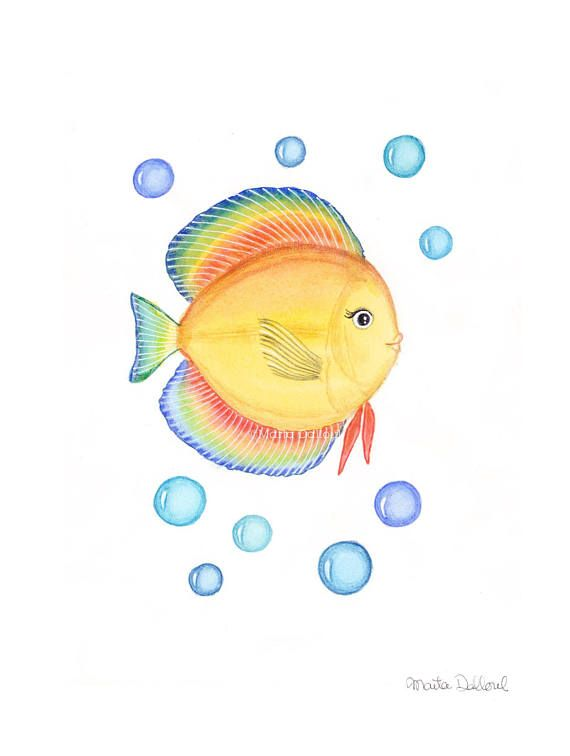 Fish Art Print Sea Nursery Art Kids Room Art Decor Tropical