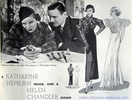 Katharine Hepburn and Helen Chandler wearing Howard's Greer's designs, copied as Butterick Starred Patterns. Delineator, May 1933.
