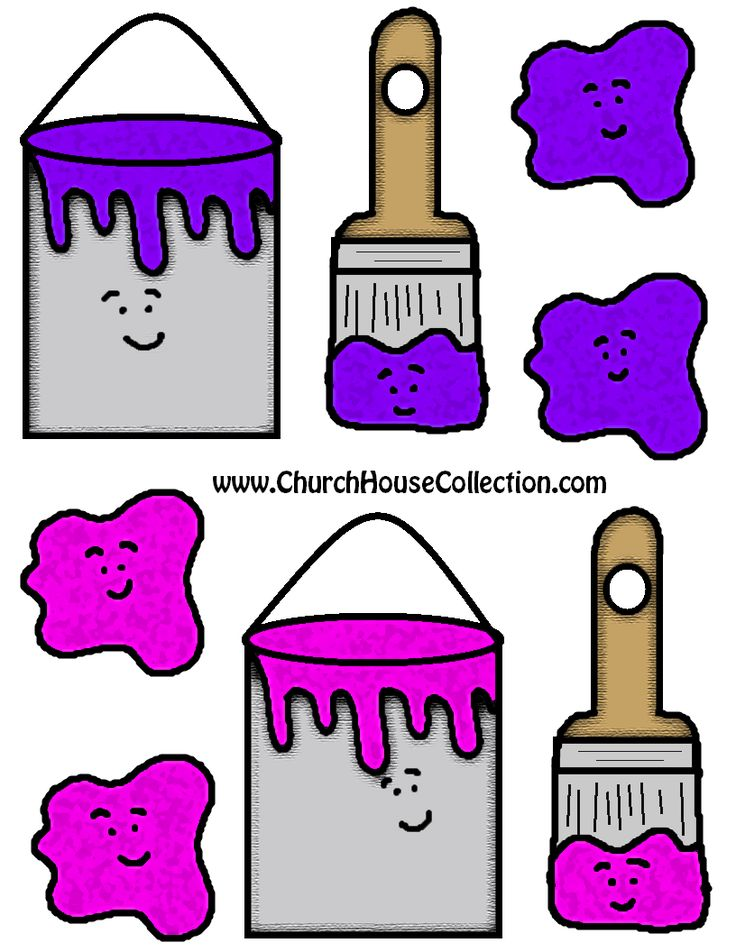 Church House Collection Blog: I Like To Brush Up On My Scriptures-Paint Can And Paint Brushes Cutout Printable Template For Kids