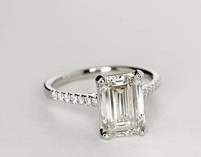 Petite Cathedral Pavé Diamond Engagement Ring in Platinum (1/6 ct. tw.)                                                                                                                                                                                 More