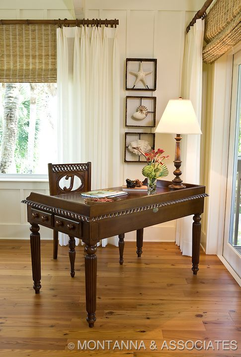 British colonial style writing desk for a Florida beach house