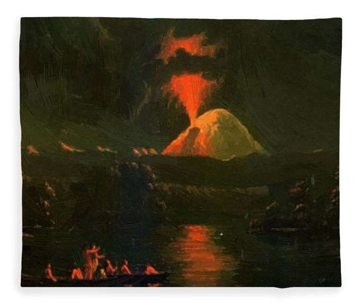 Mount Fleece Blanket featuring the painting Mount St Helens Erupting At Night by Kane Paul