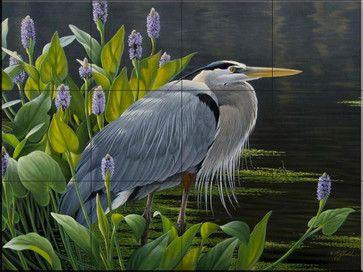 Tile Mural - Biding Time Great Blue Heron - Kitchen Backsplash Ideas traditional-tile-murals