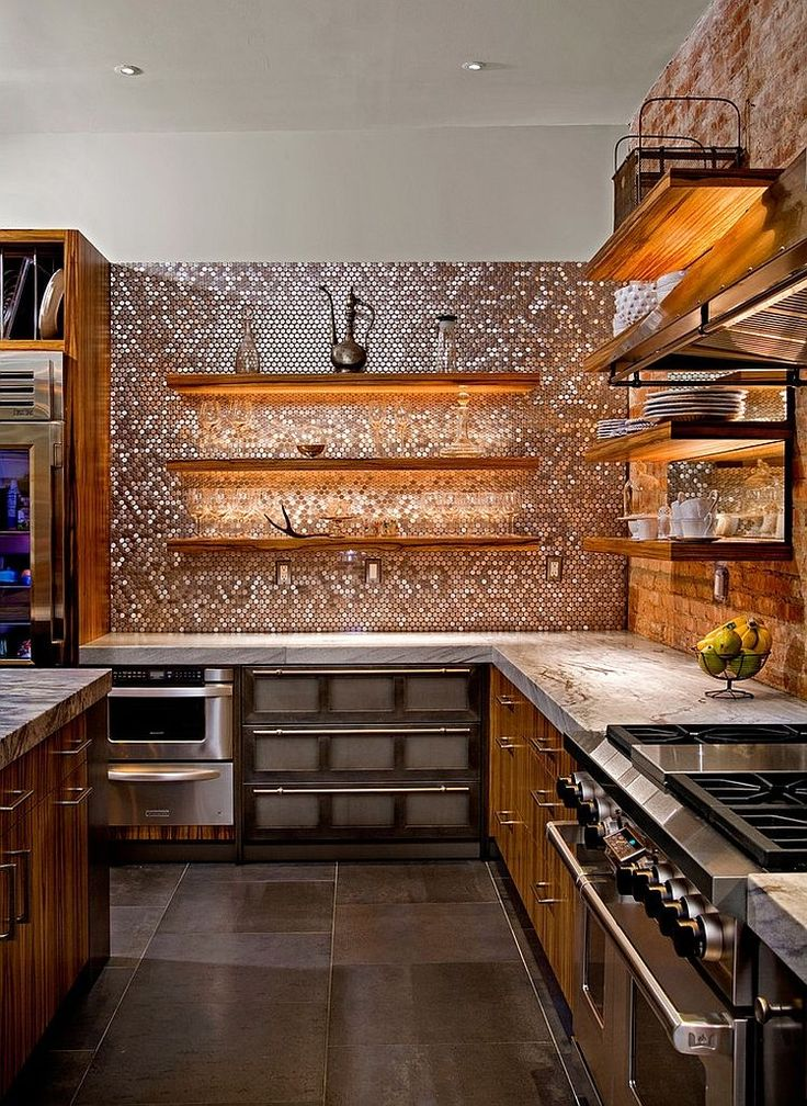 Penny tiles in copper sparkle. Stunning contemporary kitchen with a brilliant array of textures - Decoist