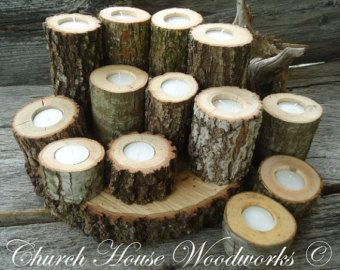 wooden tea light holder wedding centerpiece