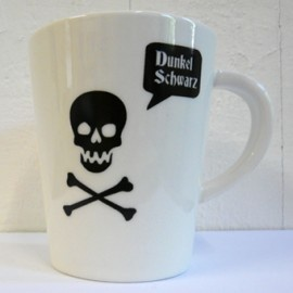 Coffee mug prints designed by Donker Zwart and hand silkscreen printed.