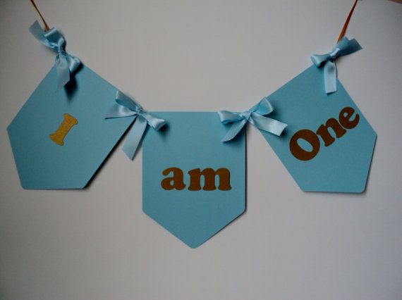 Light Blue and Gold  Banner. I Am One Birthday Banner.Boy First Birthday Banner.Toddler Birthday Party.High Chair Banner / Ready to ship.