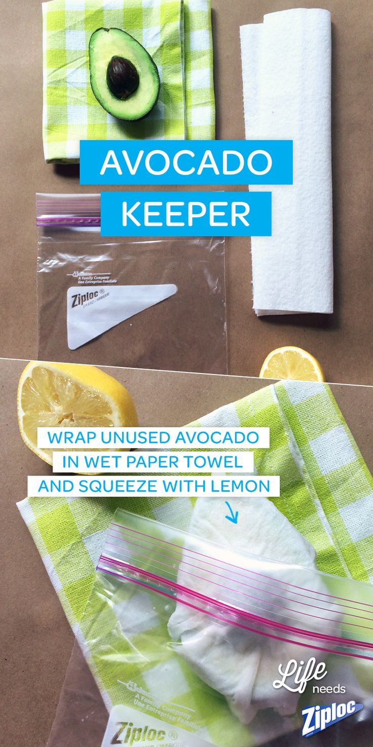 Great tip to prevent browning! Squeeze half a lemon over a wet paper towel, then wrap it around an avocado half with the pit. Store in the fridge in a Ziploc® bag. Try it with Southwest Turkey Breasts with Avocado Salsa. Yum!